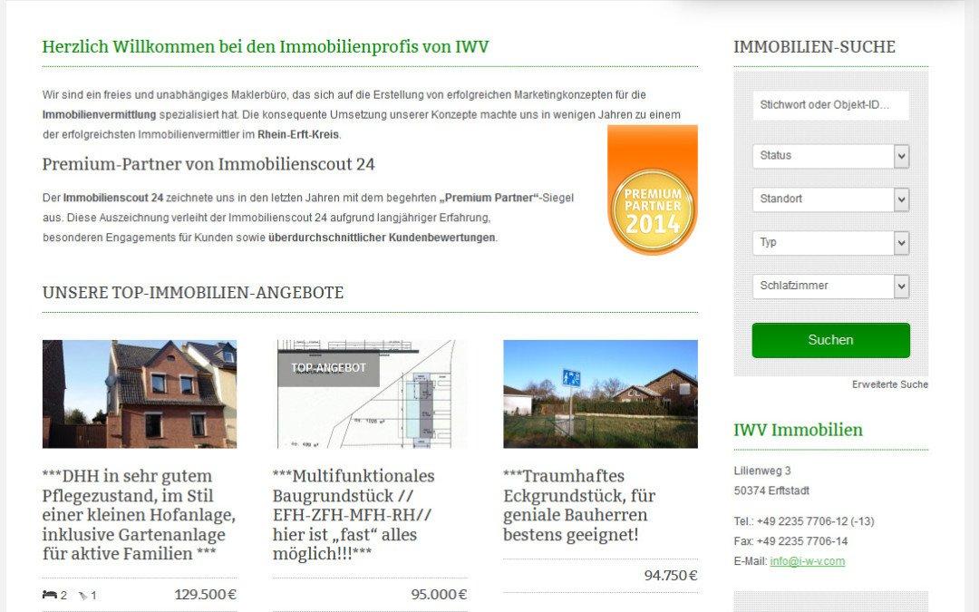 Homepage für iwv-immobilien.de aus Erftstadt online