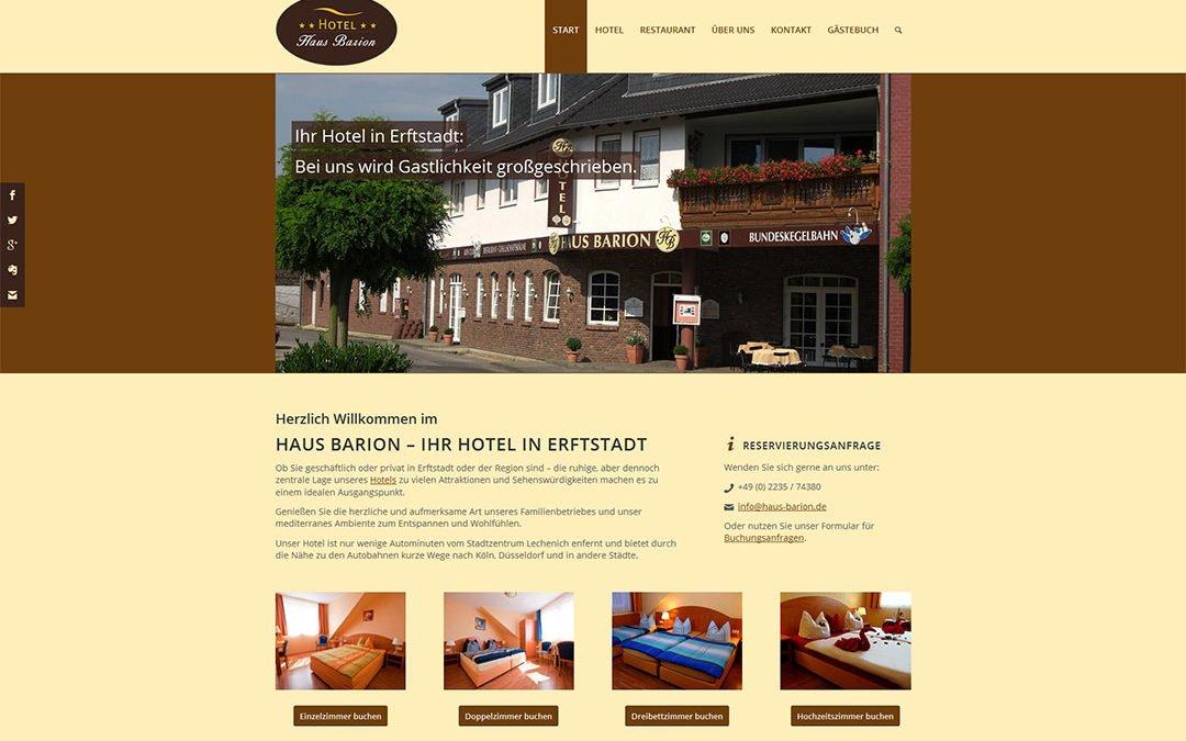 Neue Homepage für Hotel Haus Barion, Erftstadt-Dirmerzheim